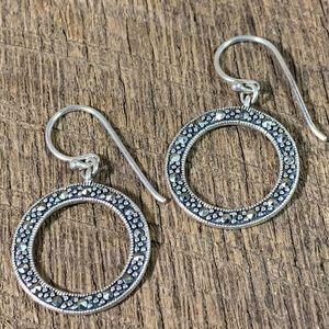 Ross Simons 925 Sterling Circle Marcasite Earrings
